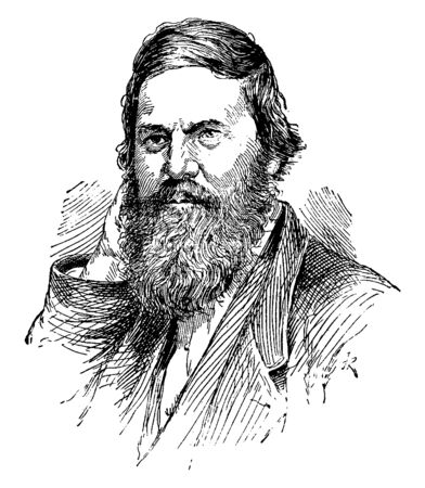 Charles Francis Hall, 1821-1871, he was an American arctic explorer, vintage line drawing or engraving illustration