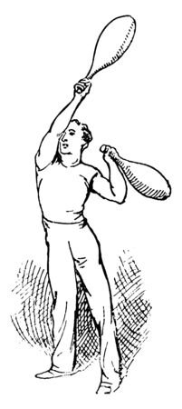Indian clubs this is a type of exercise equipment used for developing strength. In this image A man is doing exercising with Indian clubs, vintage line drawing or engraving illustration.