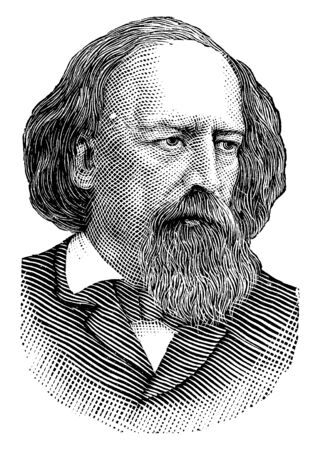 Alfred Tennyson, 1809-1892, he was poet laureate of Great Britain and Ireland, vintage line drawing or engraving illustration Ilustração