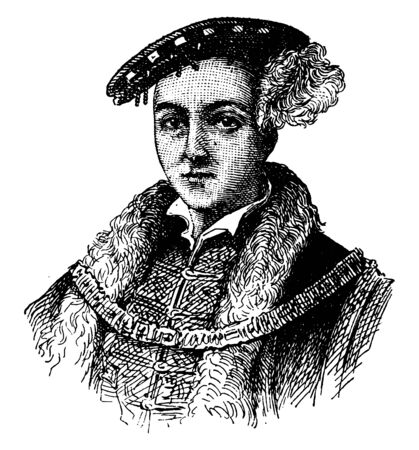 Edward VI, 1537-1553, he was the king of England and Ireland from 1547 to 1553, vintage line drawing or engraving illustration