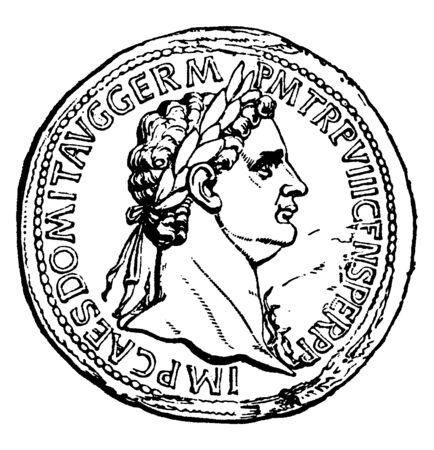 Domitien, 51-96, il était empereur romain de 81 à 96, dessin de ligne vintage ou illustration de gravure