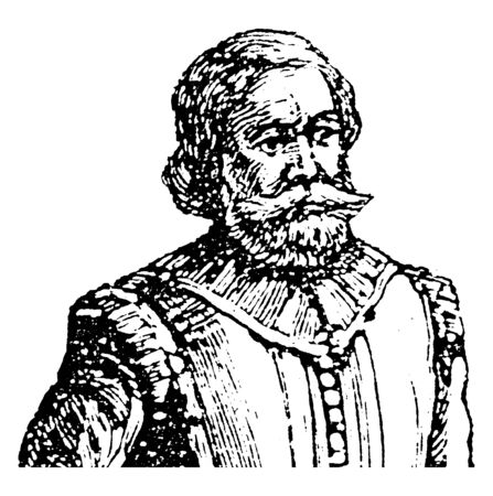 Captain John Smith, 1580-1631, he was an English soldier, explorer, and author, vintage line drawing or engraving illustration