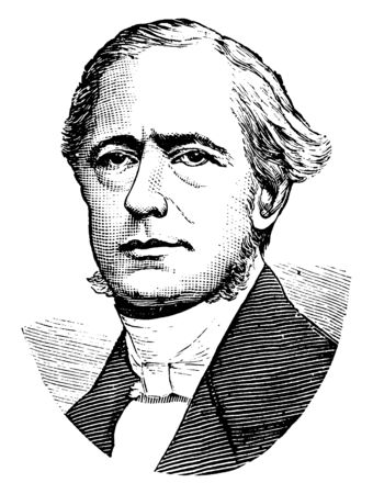 Isaac Pitman, 1813-1897, he was an educator and inventor of the Pitman system of shorthand writing, vintage line drawing or engraving illustration Ilustração