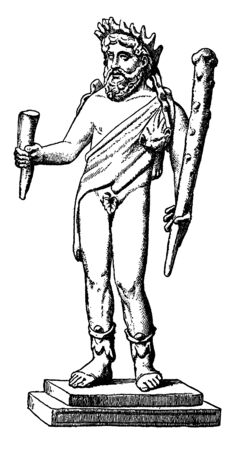 The picture shows the sculpture of Faunus. In ancient Roman religion and myth, Faunus was one of the oldest Roman deities and the horned god of the forest, plains and fields, vintage line drawing or engraving illustration. Иллюстрация