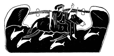 This is the picture of Europa Bull. A man is riding a bull, vintage line drawing or engraving illustration.