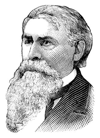 Augustus H. Garland, he was a lawyer and politician, a senator in both the United States and the confederate states, and attorney general of the United States, vintage line drawing or engraving illustration Illustration