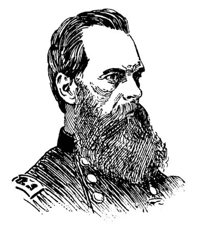 General Geary, 1819-1873, he was an American lawyer, politician, union general in the American civil war, first mayor of San Francisco, and governor of the Kansas Territory and Pennsylvania, vintage line drawing or engraving illustration Vektoros illusztráció