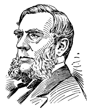 Edwin Morgan, 1811-1883, he was the 21st governor of New York from 1859 to 1862 and United States senator from 1863 to 1869, vintage line drawing or engraving illustration Vektoros illusztráció