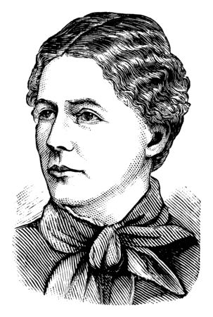 Elizabeth Rodgers, she was a delegate at the Knights of Labour convention at Richmond in 1887, vintage line drawing or engraving illustration
