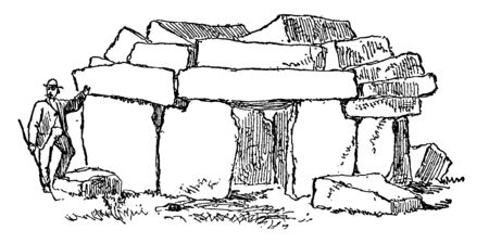 Acora Tomb is made by very heavy rocks & these rocks are also used for its roof & Wall of tomb, vintage line drawing or engraving illustration. Иллюстрация