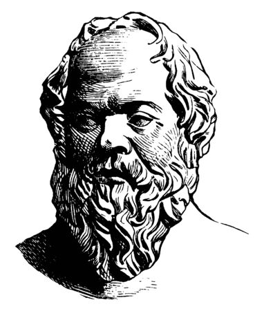 Socrates, 469-399 BC, he was a classical Greek philosopher, famous as the one of the founders of Western philosophy, vintage line drawing or engraving illustration