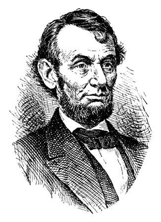 Abraham Lincoln, 1809-1865, fue un estadista estadounidense, abogado y el decimosexto presidente de los Estados Unidos desde 1861 hasta 1865, grabado o dibujo de línea vintage de la ilustración