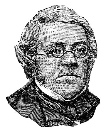 William Thackeray, 1811-1863, he was a British novelist, writer and author of the nineteenth century, famous for his satirical works, vintage line drawing or engraving illustration