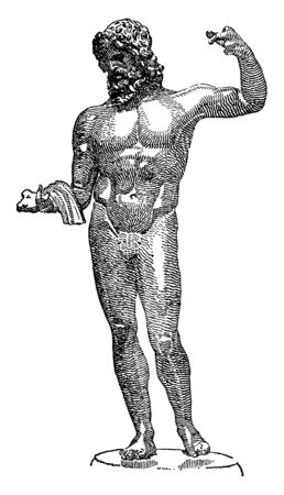 An ancient statue of Greek God Zeus with left hand raised up, vintage line drawing or engraving illustration.