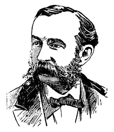 Daniel Coit Gilman, 1831-1908, he  was an American educator and academic, third president of the University of California, and  first president of Johns Hopkins University, vintage line drawing or engraving illustration