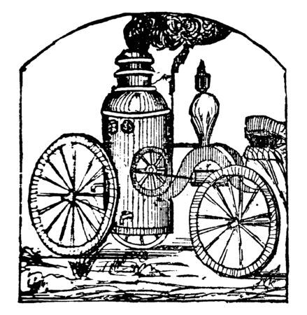 An illustration of Fire engine used for throwing water to extinguish fires, vintage line drawing or engraving illustration. Illusztráció