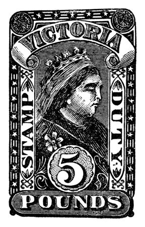 This illustration represents Victoria Five Pound Revenue Stamp in 1884, vintage line drawing or engraving illustration.