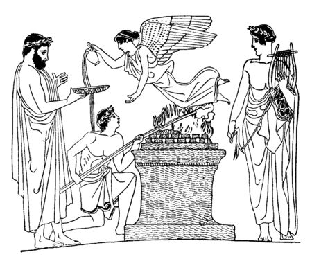 People doing prayers and offering sacrifices to make god happy, vintage line drawing or engraving illustration.