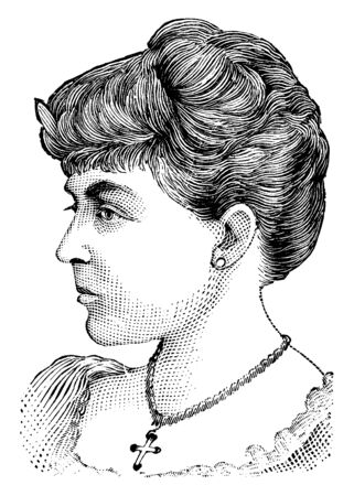 Mrs. Potter, she was a famous actress, famous for her role as Anne Sylvester and reading Ostler Joe, vintage line drawing or engraving illustration