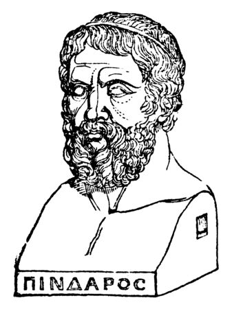 Bust of Pindar, he was an ancient Greek lyric poet, vintage line drawing or engraving illustration
