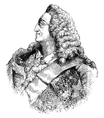 George II, King of England, 1683-1760, he was the king of Great Britain and Ireland, Duke of Hanover and Prince-elector of the Holy Roman Empire from 1727 to 1760, vintage line drawing or engraving illustration