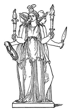 This is the picture of Hecate, a goddess of magic and witchcraft in Greek mythology. She seems to have three faces and is holding two torches, armor and a rope in her four hands, vintage line drawing or engraving illustration. Banque d'images - 133060819