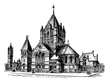 This is a building that is located in New York, at Wesley Chapel on John Street, vintage line drawing or engraving illustration. Çizim