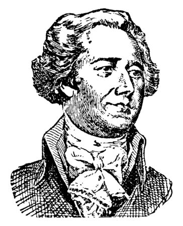 Alexander Hamilton, 175557-1804, he was an American statesman, first United States secretary of the Treasury, an influential interpreter and promoter of the U.S. Constitution, vintage line drawing or engraving illustration