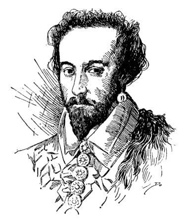 Sir Walter Raleigh, 1554-1618, he was an English writer, poet, soldier, politician, courtier, spy and explorer, vintage line drawing or engraving illustration Foto de archivo - 133485397