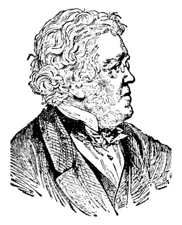 William Makepeace Thackeray, 1811-1863, he was a British novelist, writer and author of the nineteenth century, famous for his satirical works, vintage line drawing or engraving illustration