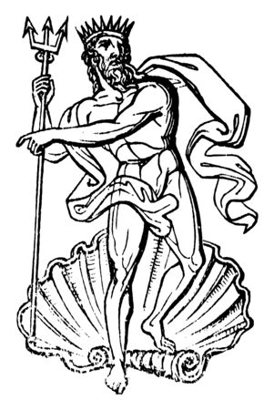 A standing statue of Neptune, the god of water and the sea in roman mythology and religion, vintage line drawing or engraving illustration.