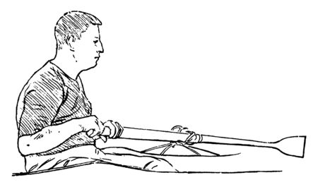 Avoid rowing like this, vintage line drawing or engraving illustration.
