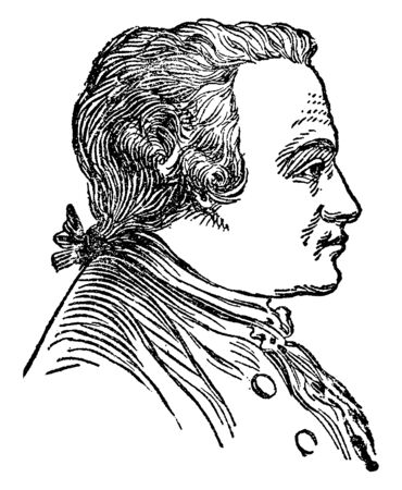 Immanuel Kant, 1724-1804, he was a German philosopher who is central figure in modern philosophy, vintage line drawing or engraving illustration