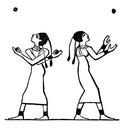 It looks like two Egyptian females are playing with balls. This is a part of sport, vintage line drawing or engraving illustration.