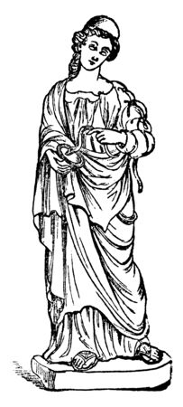 A statue of Hygieia with a snake, the symbol of health, which drinks from a cup held in her hand, vintage line drawing or engraving illustration. Banque d'images - 133112087