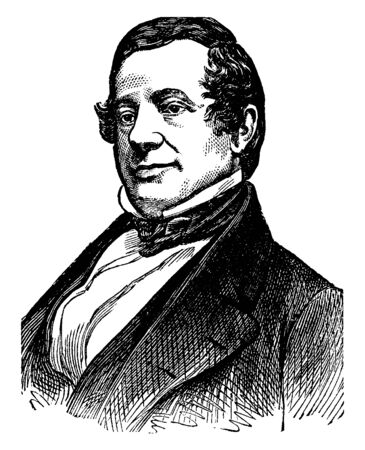 Washington Irving, 1783-1859, he was an American short story writer, essayist, biographer, historian, and diplomat of the early nineteenth century, vintage line drawing or engraving illustration 일러스트