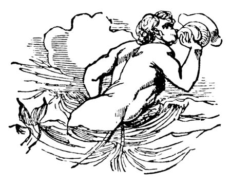 In this picture shown Glaucus. who was a son of Sisyphus whose main myth involved his violent death as the result of his horsemanship, vintage line drawing or engraving illustration.