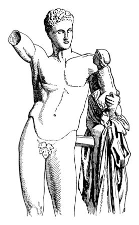 A statue of Hermes of Praxiteles, The messenger of gods also known as olympian god of Greek religion and mythology, vintage line drawing or engraving illustration.