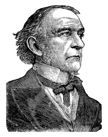 William Gladstone, 1809-1898, fue un estadista liberal británico, político conservador, primer ministro del Reino Unido, ministro de Hacienda y miembro del parlamento, línea vintage de dibujo o ilustración de grabado