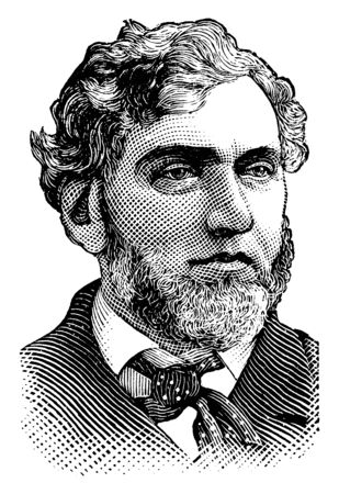 Frank Hiscock, 1834-1914, he was a U.S. representative and senator from New York, vintage line drawing or engraving illustration