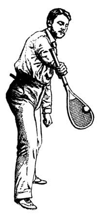 Player holding racket facing downward and ball is on the racket. He is showing perfect pose of forward overhand stroke, vintage line drawing or engraving illustration. Illustration