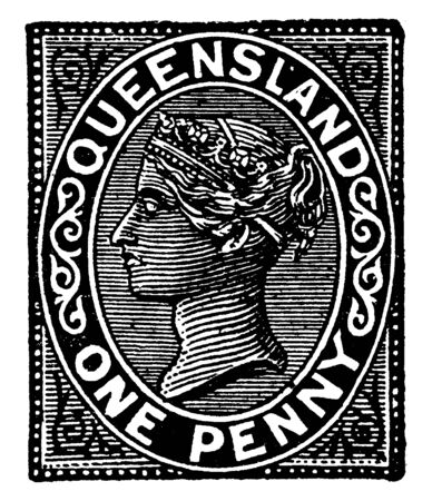 Queensland One Penny Stamp from 1882 to 1889, vintage line drawing or engraving illustration. 일러스트