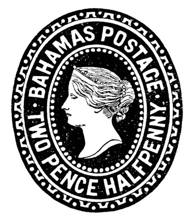 This illustration represents Bahamas Two Pence Halfpenny Envelope in 1892, vintage line drawing or engraving illustration.
