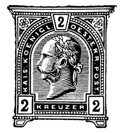 Austria 2 Kreuzer Wrapper in 1890 which were printed by the Austrian Bureau of Engraving, vintage line drawing or engraving illustration. Illusztráció