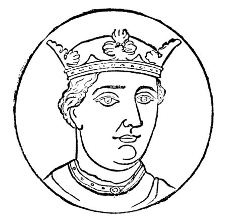 Henry II, 1133-1189, he was the king of England from 1154 to 1189, Duke of Normandy and Aquitaine, and Lord of Ireland, vintage line drawing or engraving illustration