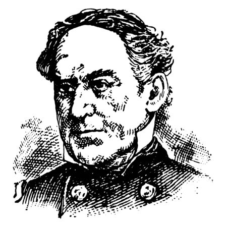 David Glasgow Farragut,  1801-1870, he was a flag officer of the United States Navy during the American civil war, first rear admiral, vice admiral and admiral in the United States Navy, vintage line drawing or engraving illustration