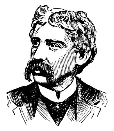 Bret Harte, 1836-1902, he was an American short story writer and poet, famous for his short fiction featuring miners, gamblers, and other romantic figures of the California Gold Rush, vintage line drawing or engraving illustration