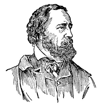 Alfred Tennyson, 1809-1892, he was poet laureate of Great Britain and Ireland, vintage line drawing or engraving illustration Ilustrace