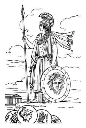 A standing statue of Greek Roman Goddess of War with a shield and spear, vintage line drawing or engraving illustration.