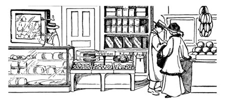 In A food shop, Customer is buying the fresh food, vintage line drawing or engraving illustration.